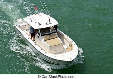 moteurs, bateau, high-end, moteur, actionné, trois, extérieur