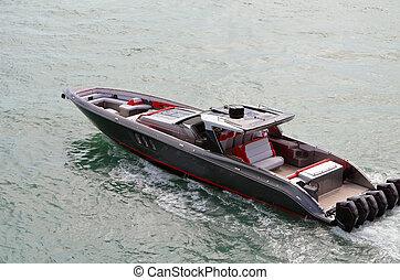moteurs, bateau, high-end, six, moteur, actionné, extérieur