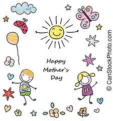 mother`s, heureux, jour