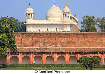 moti, inde, uttar, mosque), masjid, pradesh, fort, (pearl, agra