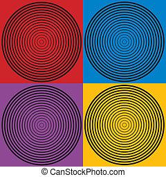 motifs, 4, cercle, conception, couleurs