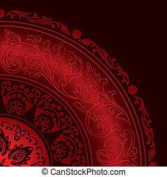 motifs, décoratif, vendange, rouges, cadre, rond