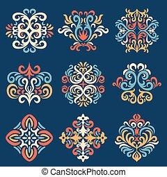 motifs, ensemble, oriental, damassé