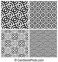 motifs, ensemble, seamless, (vector)