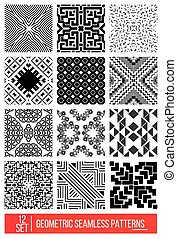 motifs, géométrique, différent, seamless, monochro, universel, ensemble