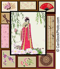 motifs, girl, national, chinois