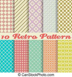 motifs, (tiling), retro, différent, seamless, dix, vecteur
