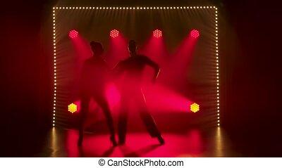motion., romantique, rouges, danseurs, contre, couple, spotlights., studio, danse lente, salle bal, fond