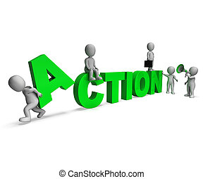 motivé, caractères, activité, action, ou, proactive, spectacles