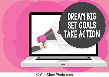 motivation, concept, bubble., texte, conversation, ensemble, suivre, ton, haut-parleur, inspiration, écriture, parole, prendre, tenue, porte voix, business, grand écran, action., buts, rêves, homme, mot, informatique, rêve