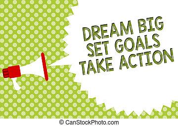 motivation, concept, texte, ensemble, suivre, message, ton, haut-parleur, écriture, halftone., parole, prendre, porte voix, bulle, business, grand, action., buts, fond, rêves, inspiration, mot, vert, rêve