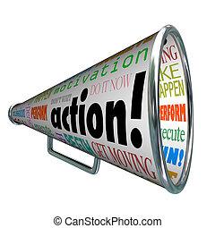motivation, mission, bullhorn, mots, action, porte voix