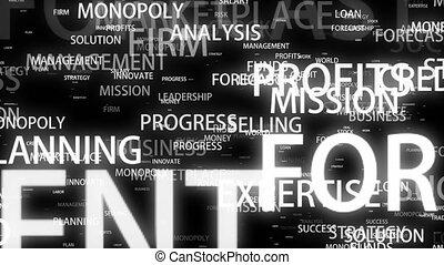 motivation, mots, business, espace, voler, arrière-plan noir, 3d