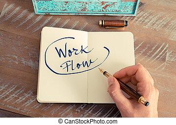 motivation, texte, écoulement travail, concept, manuscrit