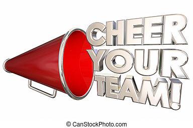 motiver, acclamation, illustration, encourager, bullhorn, équipe, porte voix, ton, 3d