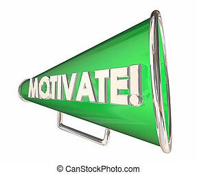 motiver, illustration, bullhorn, inspirationnel, message, porte voix, 3d