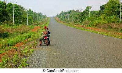 moto, elle, voyager, laos, sexy, girl, route
