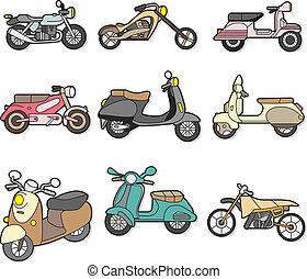 motocyclette, griffonnage, élément