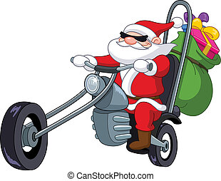 motocyclette, santa