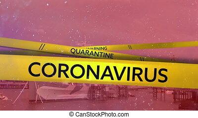mots, écrit, bande, cityscape, quarantaine, coronavirus, avertissement, arrière-plan., jaune