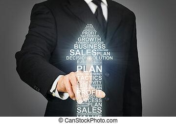 mots, business, cliqueter, formé, apparenté, flèche, homme affaires