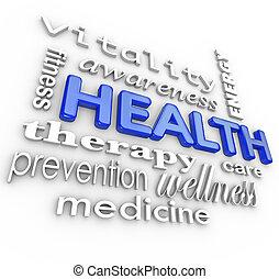 mots, collage, santé, fond, médecine, soin