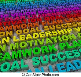 mots, -, coloré, reussite, principes