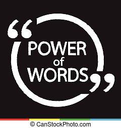 mots, conception, illustration, lettrage, puissance