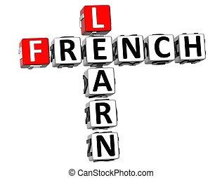 mots croisés, 3d, francais, apprendre