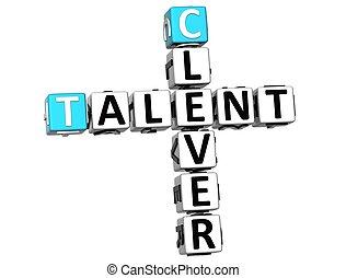 mots croisés, intelligent, talent, 3d