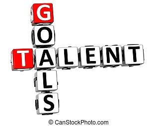 mots croisés, talent, buts, 3d