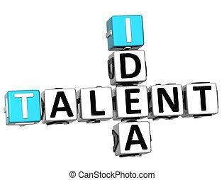 mots croisés, talent, idée, 3d