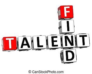 mots croisés, talent, trouver, 3d