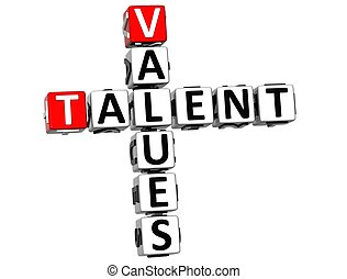 mots croisés, valeurs, talent, 3d