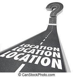 mots, destination, navigation, emplacement, route