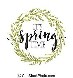mots, vecteur, wreath., printemps, illustration