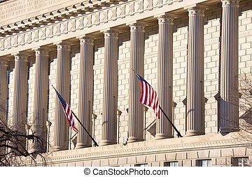 mouche, bâtiment, devant, drapeaux, gouvernement