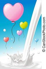 mouche, coeur, éclaboussure, amour, coloré, ciel, sur, valentines, -, lait, forme bleue, vecteur, conception, dessin animé, balloon