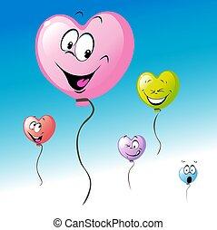 mouche, coeur, amour, coloré, ciel, balloon, valentines, -, forme bleue, vecteur, conception, dessin animé