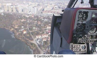mouche, contrôle, city., system., intérieur., moment, appareil photo, au-dessus, hélicoptère, transport, cabine, pilote