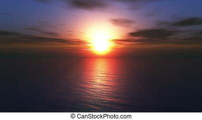 mouche, coucher soleil, 4k, océan