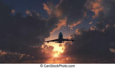 mouche, coucher soleil avion, sur, 4k