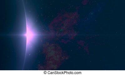 mouche, galaxy., espace, nébuleuse, -, par, fond