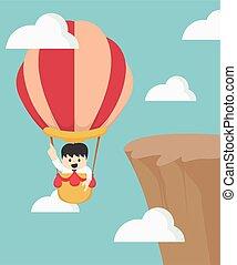 mouche, homme affaires, balloon, air chaud