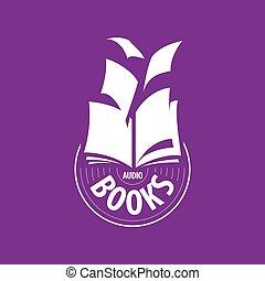 mouche, loin, vecteur, livres, feuilles, logo, audio
