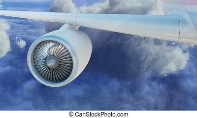 mouche, moteur, mouches, nuages, jet, commercial, par, au-dessus, avion