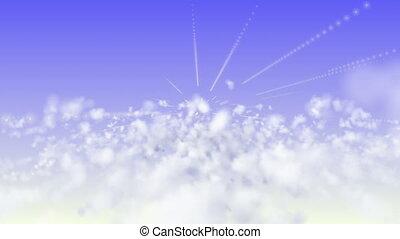 mouche, nuages, 4k