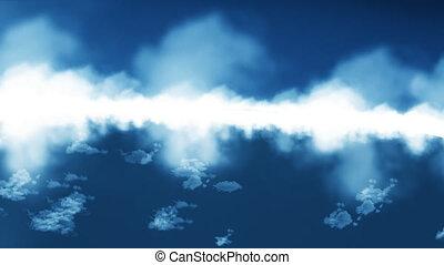 mouche, nuages, au-dessus
