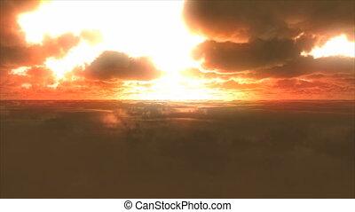 mouche, nuages, coucher soleil