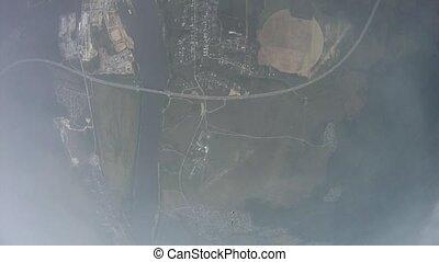 mouche, nuages, sky., extreme., parachute, vert, skydiver, au-dessus, field., ouvert